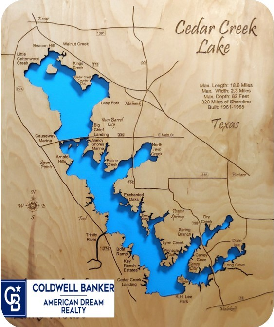 Cedar Creek Lake, TX Map